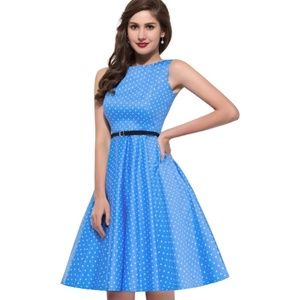 NWT Grace Karin Retro 50s Blue Polka Dot Dress S